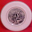 Antique Sarreguemines Faience Rabbit Hunting Poacher Plate c.1880-1930, ff251