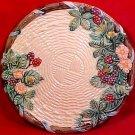 Vintage Majolica Fruit & Flowers Basketweave Plate Blackberries c.1988, fm793