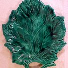 Antique Vintage French Majolica Monochrome Green Leaf Plate almost 9 inches, fm797