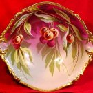 Anntique Imperial Limoges Known Artist Decorated Signed Cherries Leaves Bowl, L122