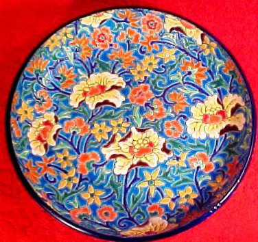 Vintage Longwy Enameled Cloisonne Hand Painted French Footed Bowl c.1920's, fm833