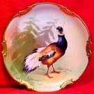 Antique Limoges Cabinet Wall Plaque Hand Painted Artist Signed Game Bird Plate, L196