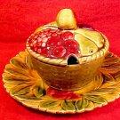 Antique 3 Piece Sarreguemines Majolica Covered Jam Pot & Underplate c.1880-1900, fm853