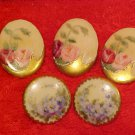 5 Beautiful Hand Painted Limoges Buttons 3 Roses 2 Violets Superbe, L189