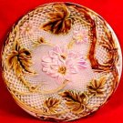 Antique French Majolica Plate Pink Flowers Brown Leaves, fm729