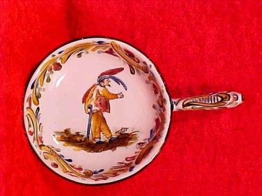 Antique Sarreguemines Faience Sommelier's Tastevins Tasting Cup Man with Sword, ff272