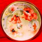 Antique Hand Painted Limoges Poppies Cabinet Plate Signed Dumas c.1908, L182