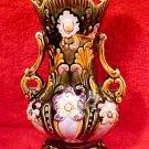 Antique German Austrian Majolica Vase 2 Handles Flowers Beautiful, gm770