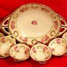 Antique RS Prussia Germany 7 Piece Nut Set Roses & Wreaths, p105