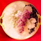 Antique Haviland Limoges Hand Painted Handled Platter w/ Grapes & Leaves, L105
