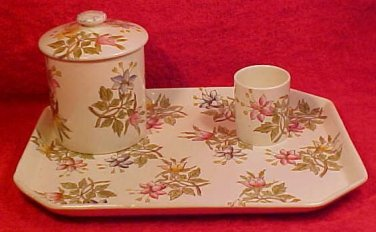 Antique French Luneville Floral Faience Dresser Tray Set c.1880-1890, di5