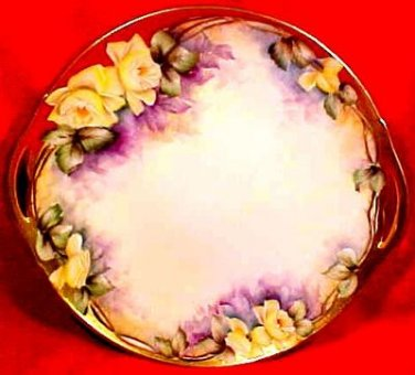 Antique Hand Painted Limoges Handled Platter Yellow Roses c.1914-1930, L116