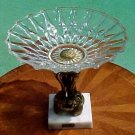Vintage Italian Crystal & Gilded Footed Dish with Marble, gl69