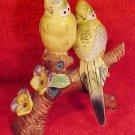 Antique Majolica Parakeets Lovebirds Buggie Figurine, gm357