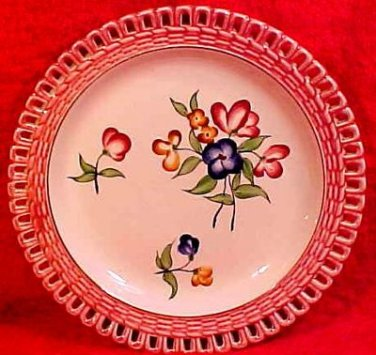 Antique French Faience Majolica Reticulated Plate c.1880 Niderviller, ff184, ff185