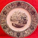 Antique Sarreguemines Faience July Calendar Plate c.1856, ff221