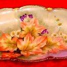 Antique German Porcelain Autumn Leaves, Flowers Relish Tray c.1903, p165
