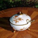 Limoges Castel Porcelain Footed Sugar Bowl with Spoon, c,1950, p82