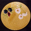 Large Vintage German Majolica Basketweave & Flowers Plate SMF, gm61