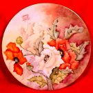 Antique Victorian Limoges Cabinet Plate HP Poppies & Leaves c.1891-1896, L145