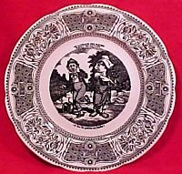 """Vintage Gien France Faience """"Speaking"""" Vignettes Plate, fm528"""