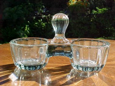 Antique French Victorian Crystal Double Open Salts Pepper, gl56