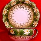 Antique Austrian Hand Painted Water Lily Cup Saucer c.1884-1909, pc39