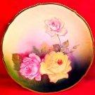 Antique German Hand Painted Porcelain Roses Cabinet Plate c.1838-1927 Bavaria, p80