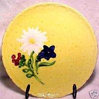 Antique German Yellow Flowers Majolica Plate, gm295