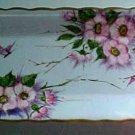 Antique Handpainted Light Blue Porcelain Dresser Tray Platter Butterflies, Flowers, p96