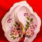 Antique Handpainted Light Blue Porcelain Dresser Tray Platter Butterflies, Flowers, p97