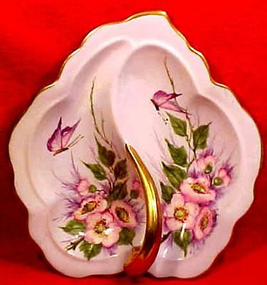 Antique Handpainted Light Blue Porcelain Dresser Tray Platter Butterflies, Flowers, p97