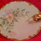 Antique Handpainted T&V Limoges Flowers & Gold Handled Tray, L9