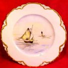 Antique Haviland Limpges Hand Painted Boats Plate c.1888-1896, L130