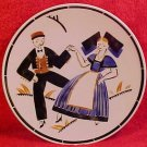 Antique French Luneville Faience Dancing Plate Geo Conde, ff41