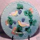 """Vintage German Majolica Birds Plate 9.25"""", gm276"""