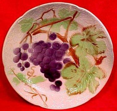 Antique Saint Clement Majolica Grapes Plate c.1890, fm769
