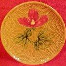 Antique German Majolica Hibiscus Plate Zell, gm335