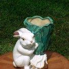 Heavy Stoneware Bunny Rabit Planter with Majolica Glaze, gm709