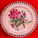 Antique Luneville K&G Rose Bouquet Reticulated Plate, lun60
