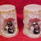 Vintage Bone China Porcelain Skunks in Tree Trunk Salt & Pepper Shakers, p150