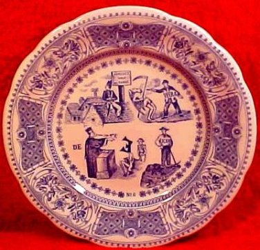 Rare Gien French Faience Riddle Plate, ff86