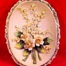 Beautiful Vintage Lefton Flowers Wall Medallion Plaque Excellent Condition, p81