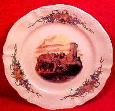 Antique French Obernai Faience Sarreguemines Castle Plate, ff55
