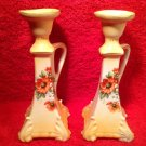 Antique Paie of Hand Painted Austrian Faience Candle Holders, ff286