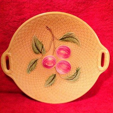 Antique German Majolica Zell Apples Peaches Pierced Handled Platter c.1907 gm808