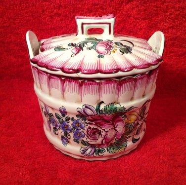 Antique Hand Painted French Faience Strasbourg Lidded Handled Butter Tub Dish, ff294