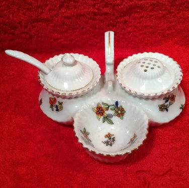 Antique Vintage Czech Open Salt Pepper Condiment Set c.1918, p187
