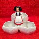 Antique French Porcelain Open Salt Pepper Condiment w Alsace Girl, p188