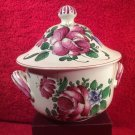 Antique Henri Chaumeil Hand Painted roses & Tulip Lidded Handled Bowl c1890, ff445